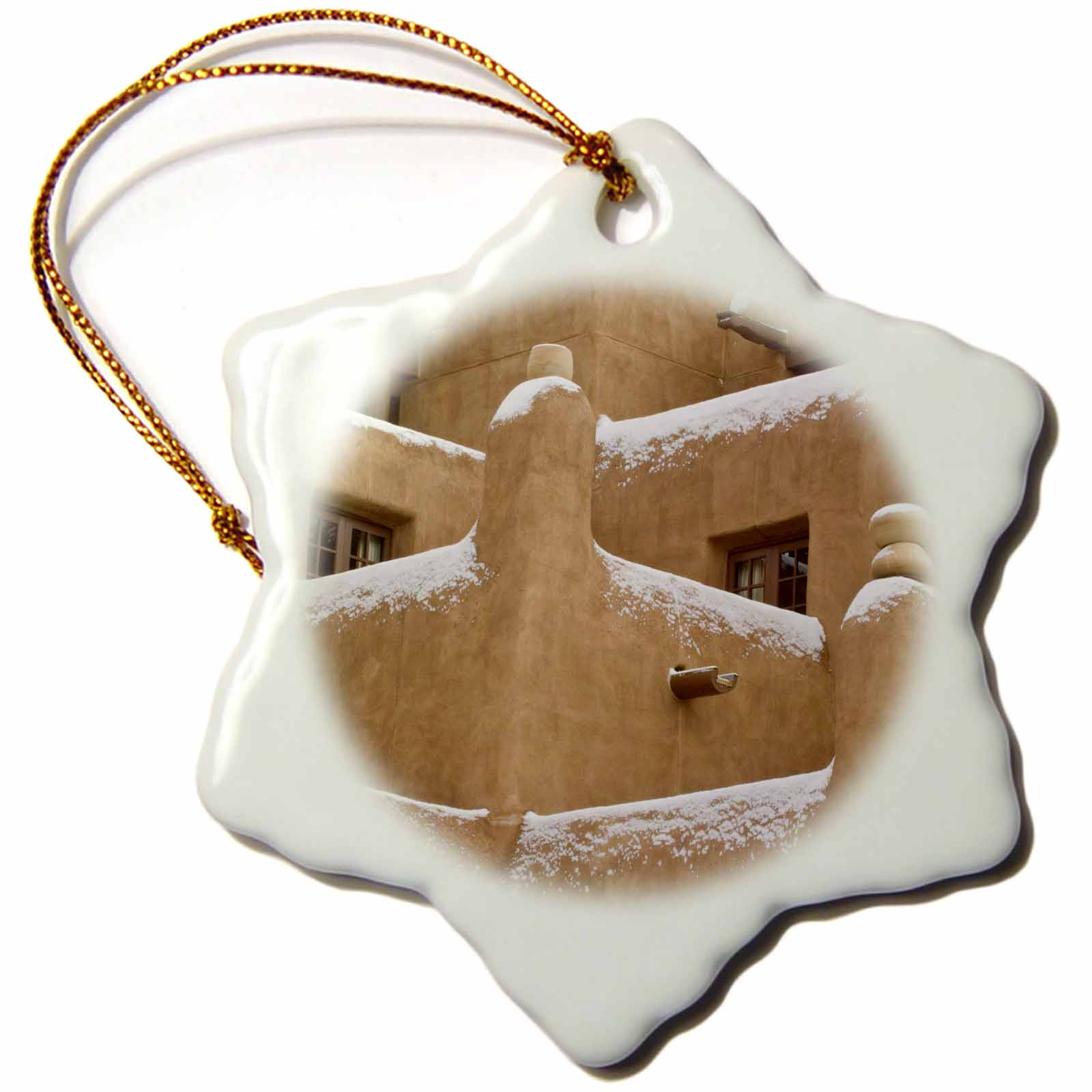 3dRose New Mexico, Santa Fe, Snow on Inn at Loretto - US32 RTI0110 - Rob Tilley, Snowflake Ornament, Porcelain, 3-inch