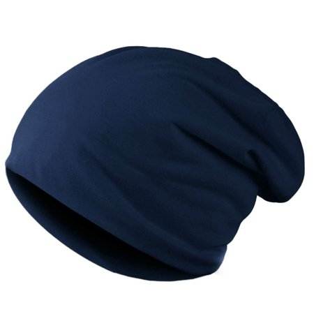 Navy Blue Slouch Hat - New Fashion Men Women Beanie Solid Color Hip-hop Slouch Unisex Knitted Cap Hat Dark Blue