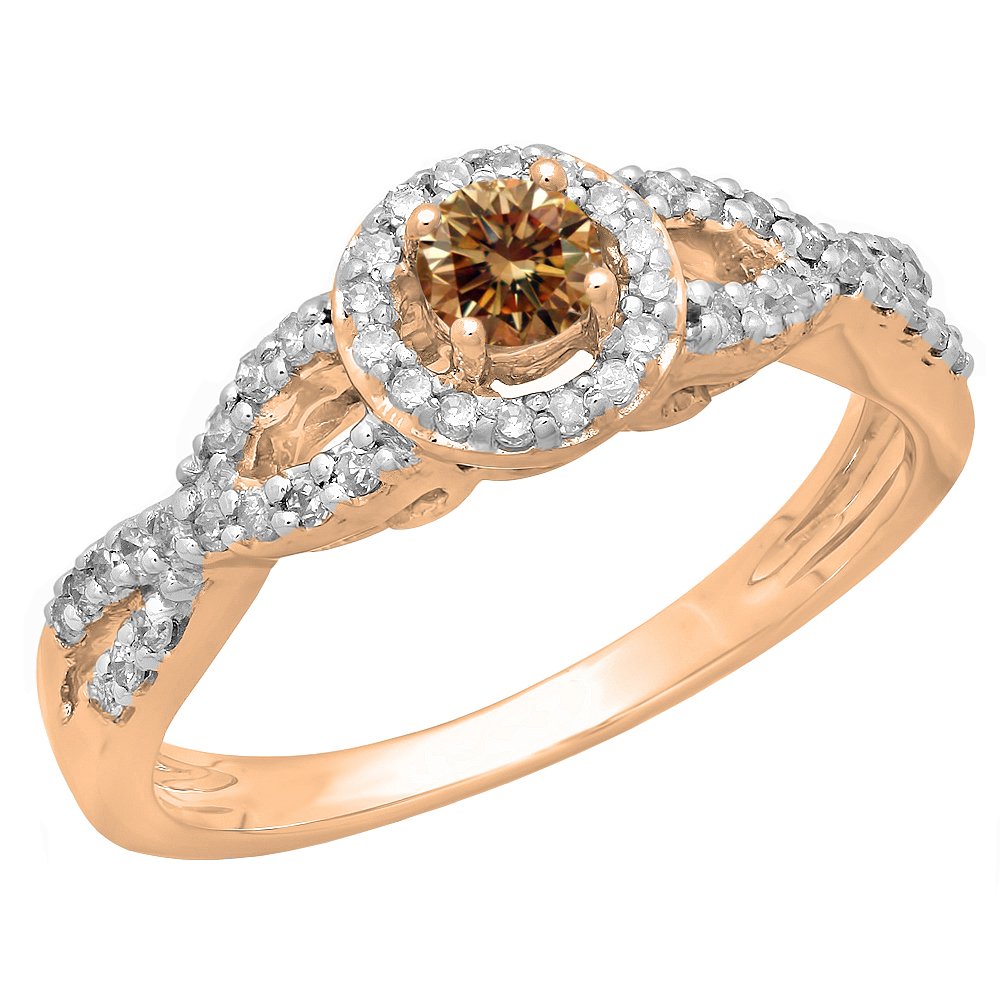 0.50 Carat (ctw) 18K Rose Gold Round Champagne & White Diamond Ladies Swirl Split Shank Bridal Halo Style Engagement Rin