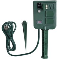 Holiday Time 6-Outlet Power Stake with Timer, Waterproof Construction