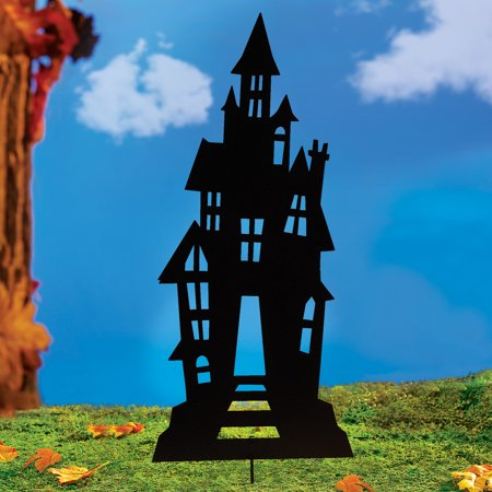 Halloween Display Platforms (Haunted House Metal Halloween Garden Stake that is Almost Three Feet Tall for a Festive)