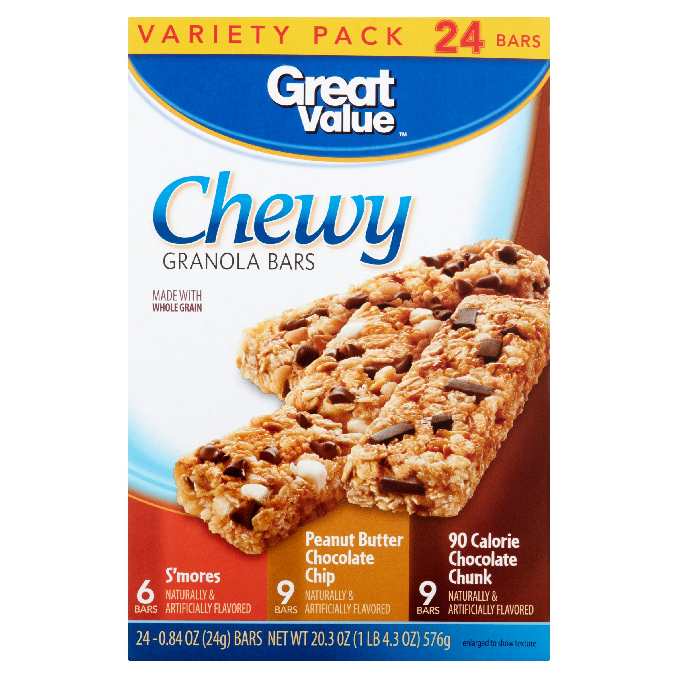 great value chewy granola bars variety pack 24 count