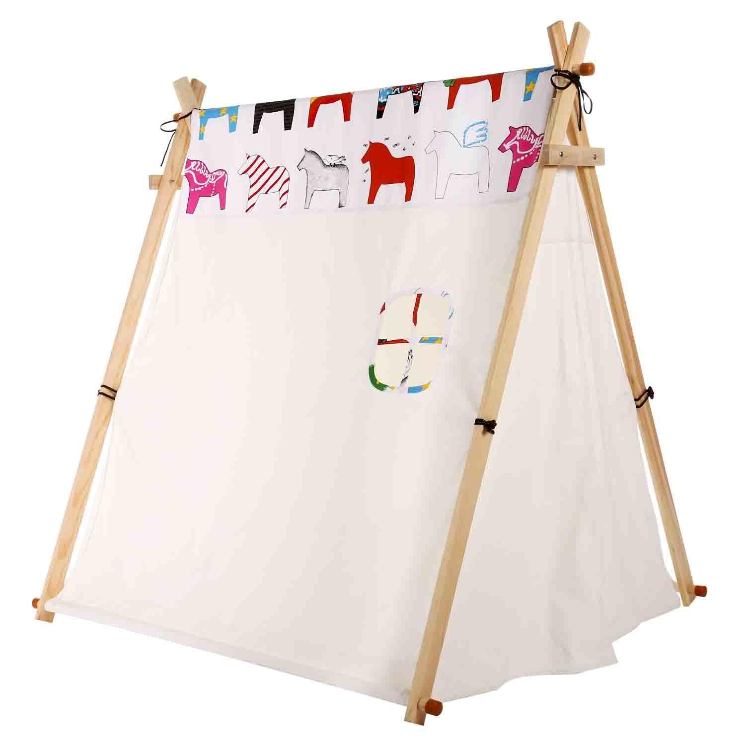 A frame Child Kids Teepee Tent Beige Children Playhouse Horse Print with