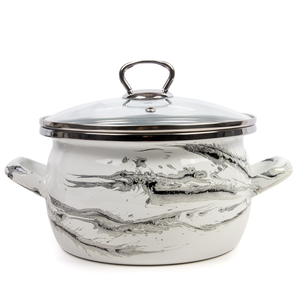 Vintage Enamel Black and White Sauce Pan Retro CookwareBlack and White Cooking Pot with Lid