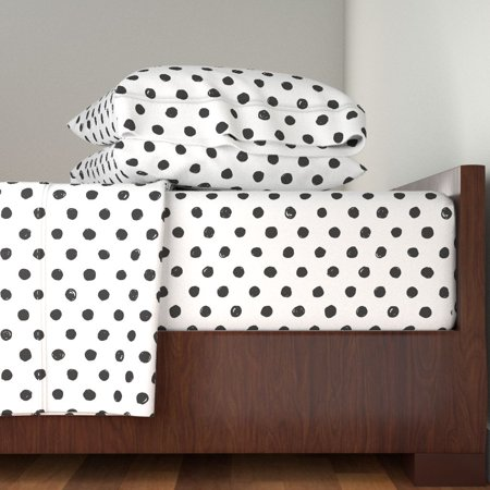 Black And White Polka Dot Modern Polka 100% Cotton Sateen Sheet Set by Roostery