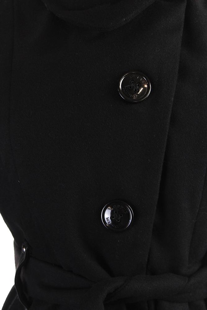 10f74777eb6 Steve Madden Black Drama Flared Funnel-Collar Coat S