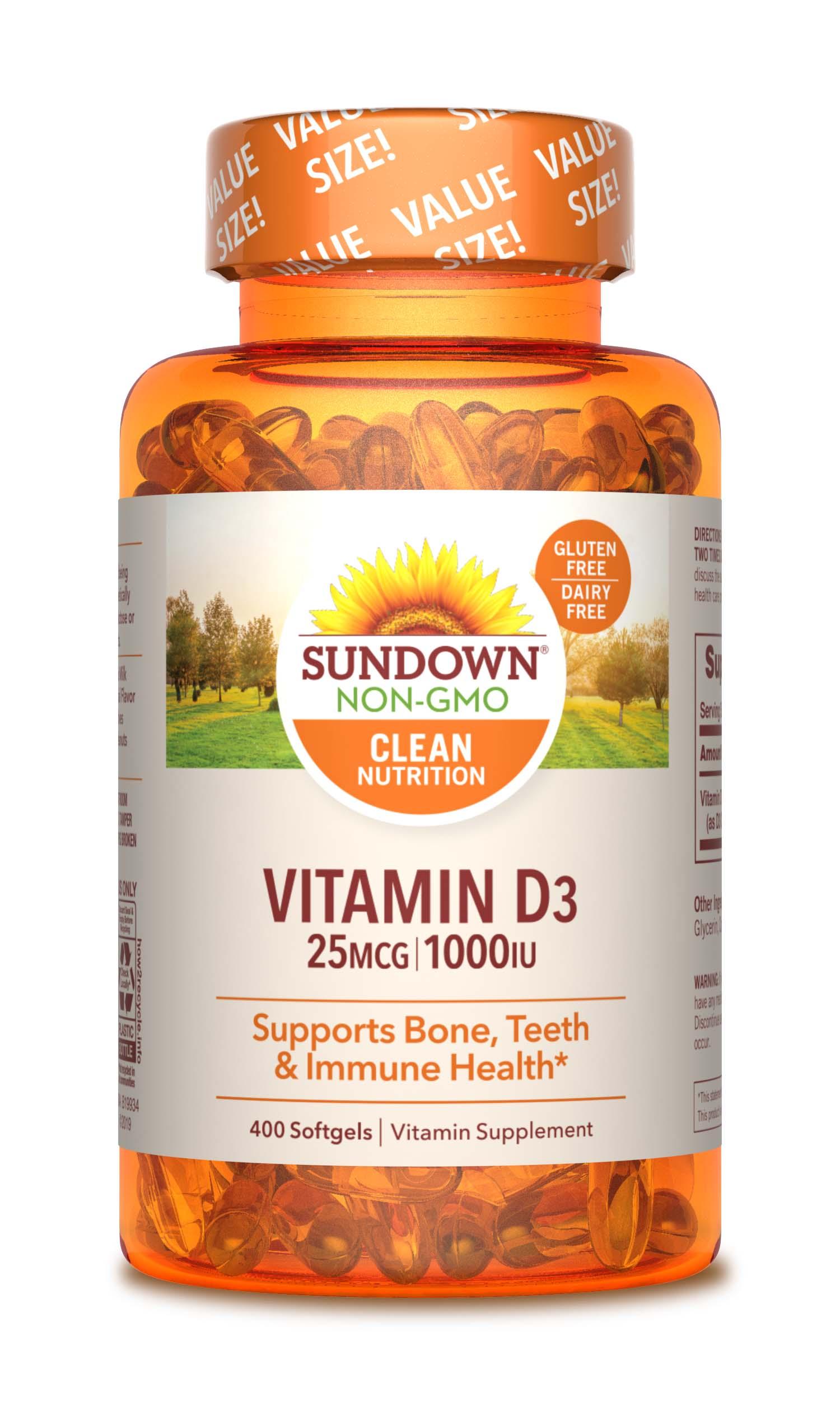 Sundown Naturals Vitamin D3 25 Mcg 1000 Iu 400 Softgels Walmart Com Walmart Com