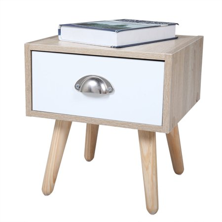 Lowestbest Walnut Bedside Table, Bedroom Wood Nightstand with Drawer& Storage Shelf, White (1Pcs)