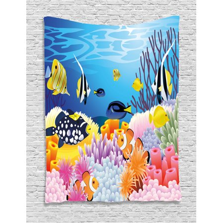 - Fish Tapestry, Water Life with Different Kind of Fishes Coral Reefs and Sponges Kids Nursery Theme, Wall Hanging for Bedroom Living Room Dorm Decor, Multicolor, by Ambesonne