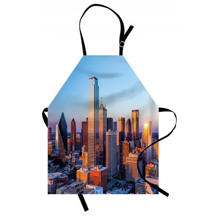 United States Apron Dallas Texas City with Blue Sky at Sunset Metropolitan Finance Urban Center, Unisex Kitchen Bib Apron with Adjustable Neck for Cooking Baking Gardening, Multicolor, by Ambesonne