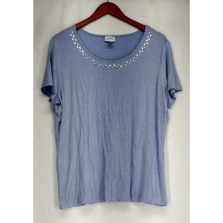 Jaclyn Smith Sz XL Rhinestone Embellished Knit Top Light Blue Womens ()