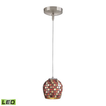 Elk Lighting Low Voltage Collection 1 Light Mini Pendant In Brushed Nickel With Multi Fusion (Mlt) Glass In Multi Fusion (Mlt) - PF1000/1-LED-BN-MLT - Fusion Dining Collection