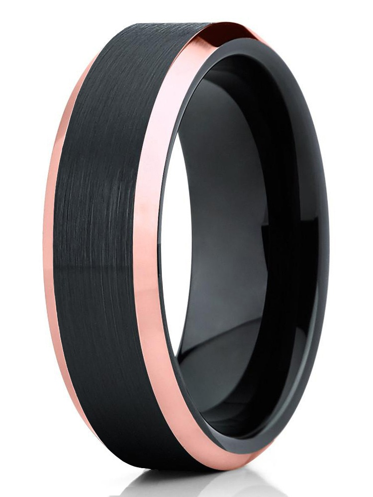 Mens Ring 8mm Rose Gold Tungsten Wedding Band Black Brushed Tungsten Ring