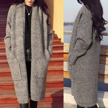 Women's Open Cardigan Wool Knitted Casual Long Cardigan Sweater ...