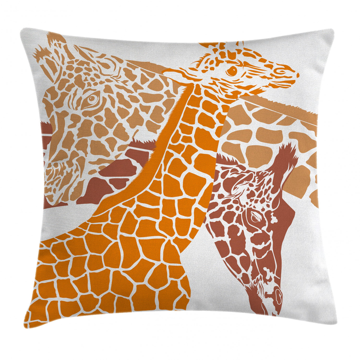 Giraffe Throw Pillow Cushion Cover Sketch Of A Family Safari Wildlife In African Tall Animal Zoo Camouflage Decorative Square Accent Pillow Case 16 X 16 Inches Orange White Brown By Ambesonne