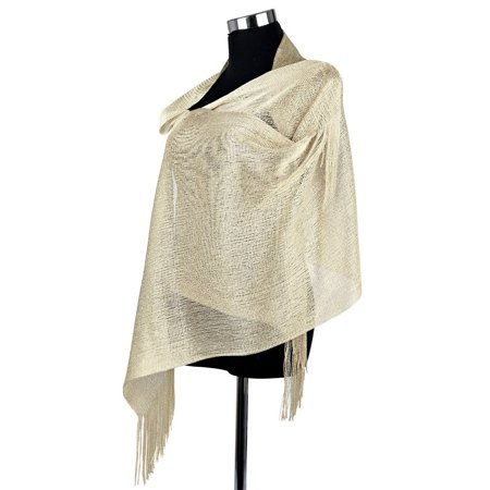 Pashmina Shawl Wrap Sparkle  Fringe  Weddings Party Evening Scarfs for Women - champagne