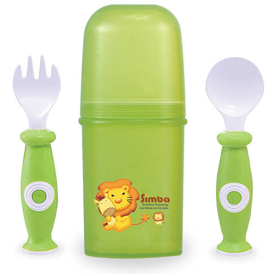 Simba Training Fork and Spoon Set, Green