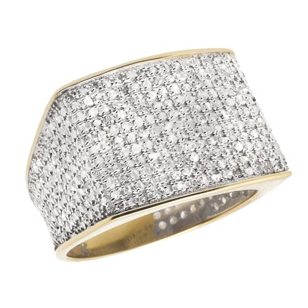 10K Yellow Gold Men's Pave Eternity Real Diamond Ring Band 1.4ct (Mens Real Diamond Rings)