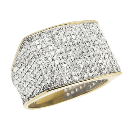 10K Yellow Gold Men's Pave Eternity Real Diamond Ring Band 1.4ct Engagement Pinky Ring