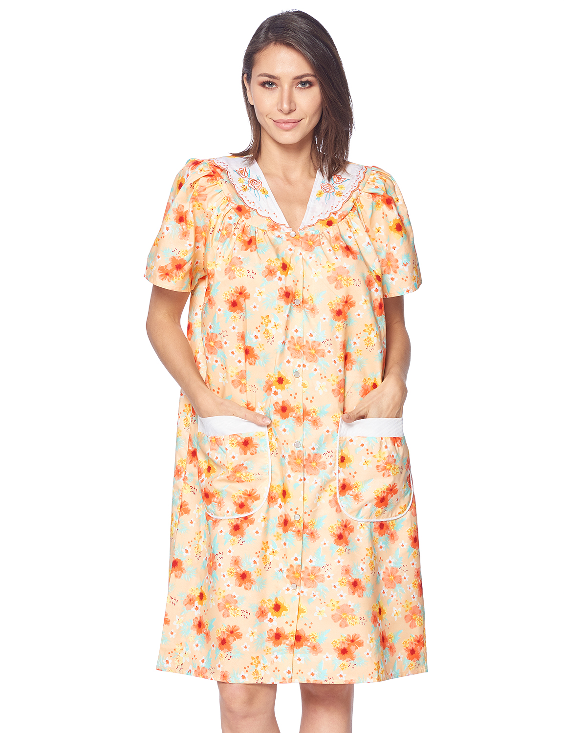 20W-22W Plus Size Womans Cotton Bland,Short Sleeve  House Dress with Pockets,2X