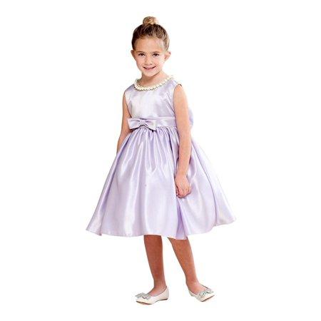 ce999ccd9877 Crayon Kids - Crayon Kids Girls Lilac Shiny Pearl Bow Detail Flower Girl  Dress - Walmart.com