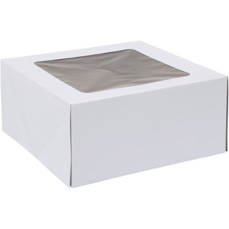 Wilton White Square Corrugated Cake Box with Window, 12 x 12 x 6 Inch, 2-Count