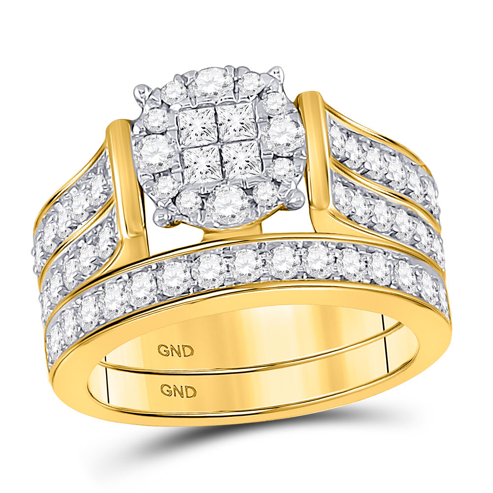 14kt Yellow Gold Womens Princess Diamond Soleil Bridal Wedding Engagement Ring Set 1-1 3 Cttw by GND