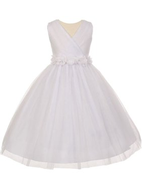 45fd5466c75 Product Image Little Girls White Chiffon Floral Sash Shiny Tulle Flower Girl  Dress 4. Cinderella