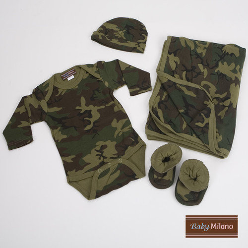 Baby Milano 4 Piece Baby Clothes Gift Set in Army Camouflage