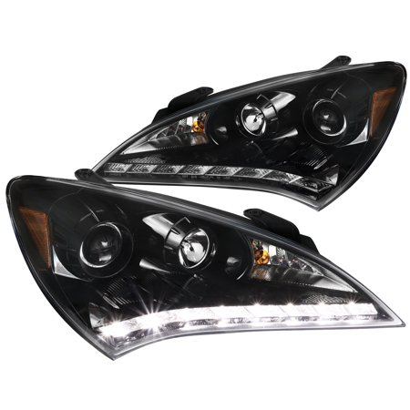 Spec-D Tuning For 2010-2012 Jet Black Hyundai Genesis 2Dr Coupe Smd Led Projector Headlights Pair (Left+Right) 2010 2011