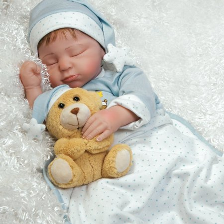 Paradise Galleries Lifelike Boy Baby Doll Lil Man in The Moon, Sleeping Reborn in GentleTouch Vinyl, 21 inch, 5-Piece Set (Inflatable Man Doll)