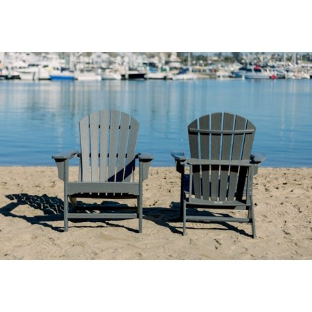Luxeo Hampton Gray Poly Outdoor Adirondack Chair (2 Pack)