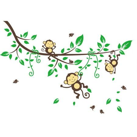 Tuscom Jungle Monkeys Tree Wall Sticker Decal Kid Nursery Baby Decoration Decal - Jungle Tree Decorations