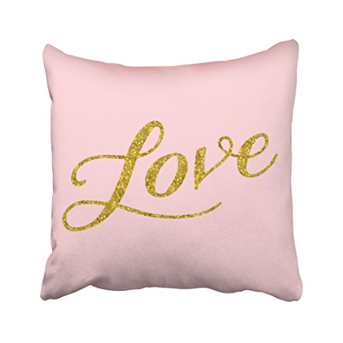 WinHome Decorative Art Color Design Love Gold Faux Glitter Metallic Inspirational Pink Throw Pillowcase Size 18x18 inches Two Side