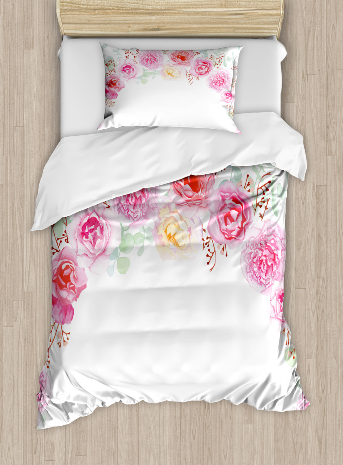 Shabby Chic Duvet Cover Set Floral Wreath In Half Blossoming Romantic Bridal Roses Peonies Feminine Design Decorative Bedding Set With Pillow Shams Multicolor By Ambesonne Walmart Com Walmart Com