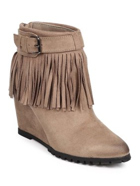 60096f5e863 Product Image New Women Qupid Tustin-02 Suede Buckle Fringe Wedge Ankle  Bootie Size