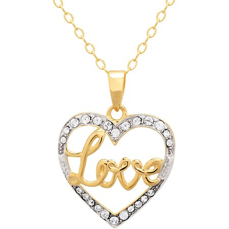 Luminesse 18Kt Gold Over Sterling Silver  Love  Heart Pendant Made With Swarovski Elements  18