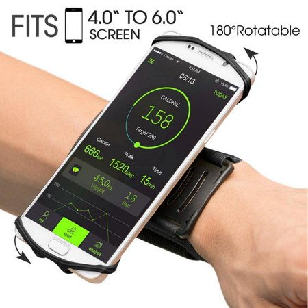 Wristband Phone Holder for iPhone X iPhone 8 8Plus 7 7 Plus 6S 6 5S Samsung Galaxy S8 Plus S7 Edge, Google Pixel, 180° Rotatable, Great for Hiking Biking Walking Running