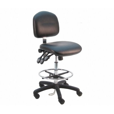 - BenchPro Deluxe HD Vinyl Ergonomic ESD Anti Static Chair with Footring, Black