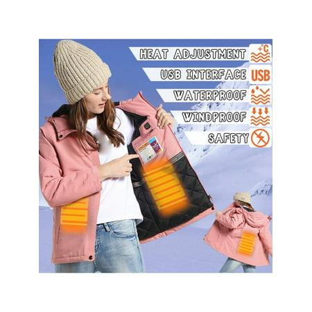Woman Pink Electronic Jacket Intelligent Adjustable Temperature Heating USB Hooded Waterproof Coat For Outdoor Skiing Skating Keep