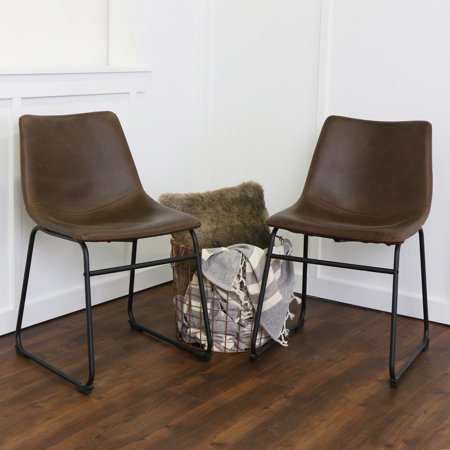 - Walker Edison Modern Faux Leather Dining Chair, Set of 2 - Brown