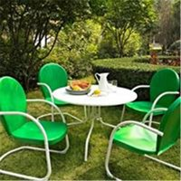 Crosley Furniture  Griffith Metal 40 in. Five Piece Outdoor Dining Set - 40 in. Dining Table in White Finish with Grasshopper Green Finish Chairs