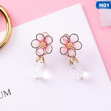 AkoaDa 1pair Fashion Tassels Earrings for Women Long Crystal Tassel Asymmetric Cherry Blossoms Drop Earring Flower Jewelry Funny Cherry Quartz Flower Earrings