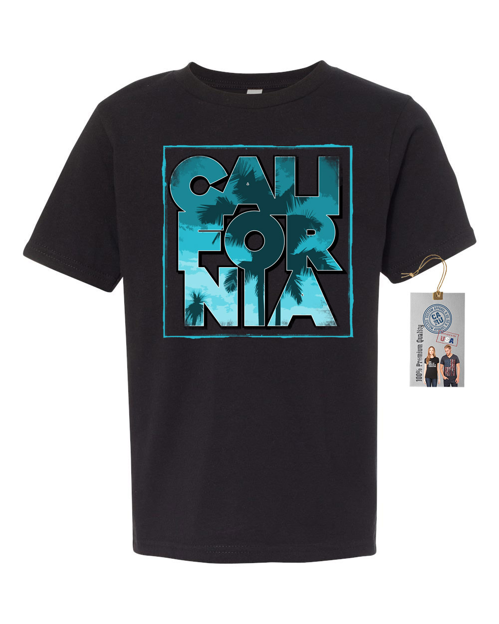 california palm trees beach summer youth short sleeve shirt