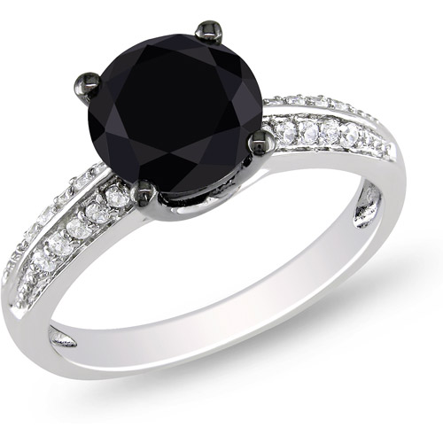 3 Carat T.G.W. Black and White CZ Sterling Silver Engagement Ring