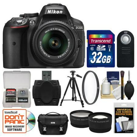 Nikon D5300 Digital SLR Camera & 18-55mm VR DX II AF-S Lens (Black) -  Factory Refurbished with 32GB Card + Case + Tripod + Filter + Remote +  Tele/Wide