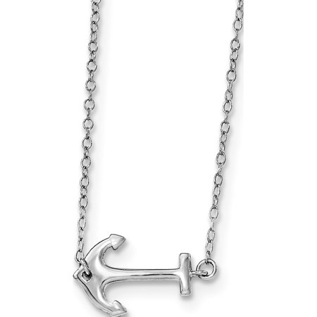 925 Sterling Silver Rhodium-plated Anchor w/2in ext. Necklace - image 2 of 2