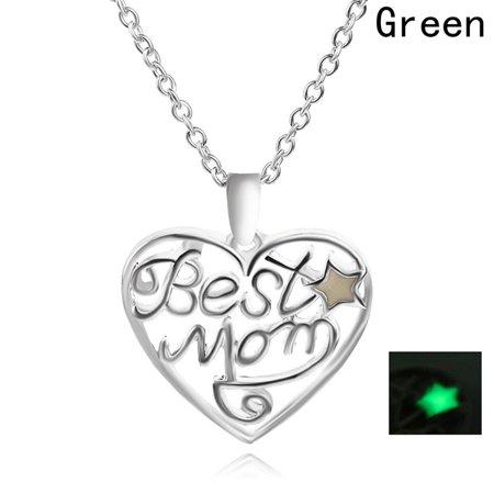 AkoaDa  New Style Best Mom Heart Type Essential Pendant Necklace Luminous Pendant With Birthday Fashion Lava Beads Chakra (Best Fashion Style Blogs)