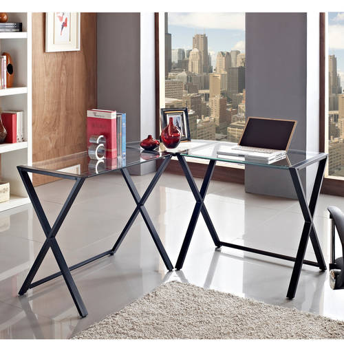 Glass and Metal X-Frame Corner Computer Desk, Black