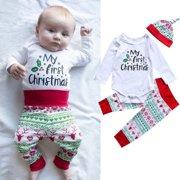 Newborn Baby Boys Girls Christmas Clothes Tops Romper Pants Hat 3PCS Outfits Set